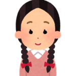 おさげの女の子のイラスト