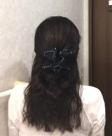 ハーフアップにしたくせ毛