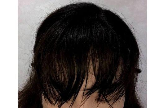 前髪を濡らしたところ